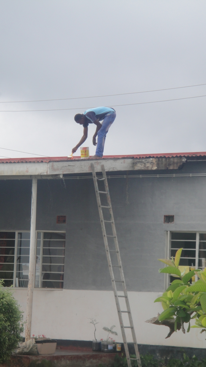 Ronald repairing the roof
