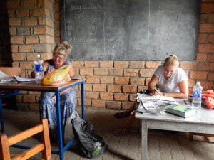 Janet and Karen preparing lessons